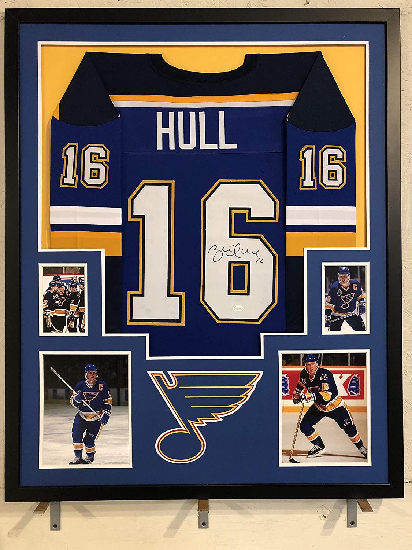Brett Hull Autographed Custom Framed St Louis Blues Jersey 'HOF 2009' JSA Witnessed COA