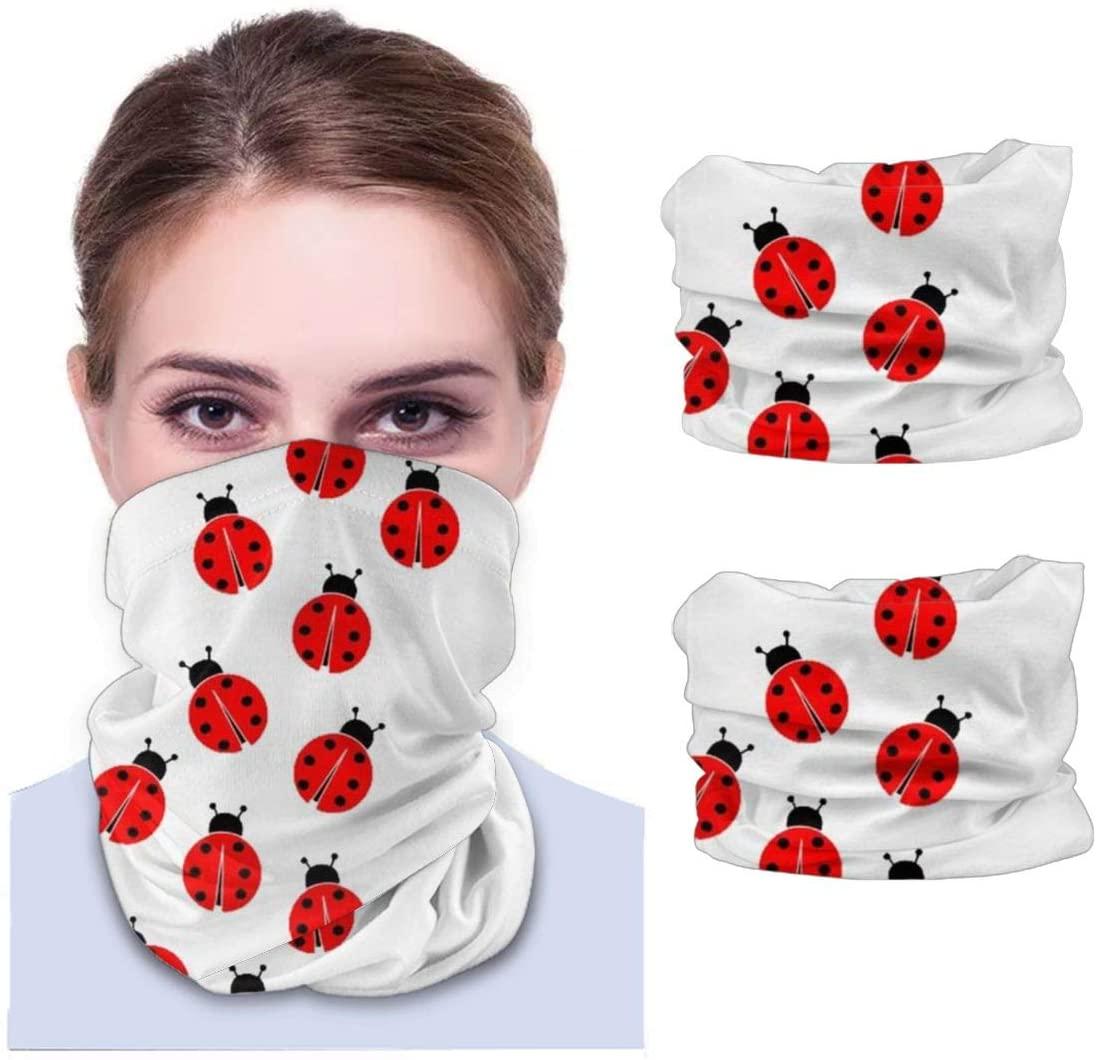 Neddelo 2pcs Bandana Face Cover, Dustproof Windproof Variety Head Scarf,Ladybugs Balaclava for Women Men
