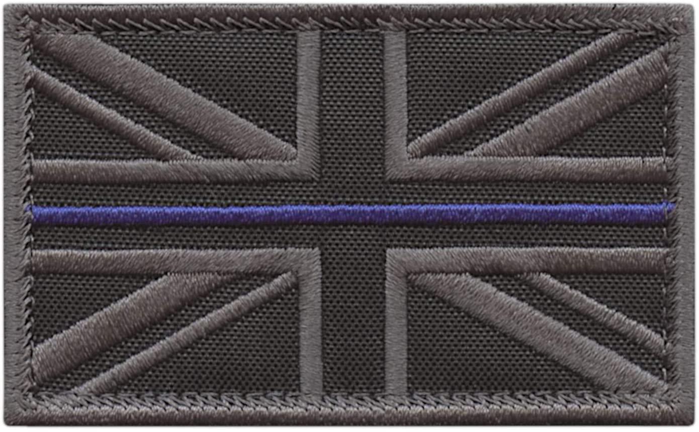 LEGEEON Union Jack UK Flag Thin Blue Line Subdued 2x3.25 Law Enforcement Morale Tactical Fastener Patch