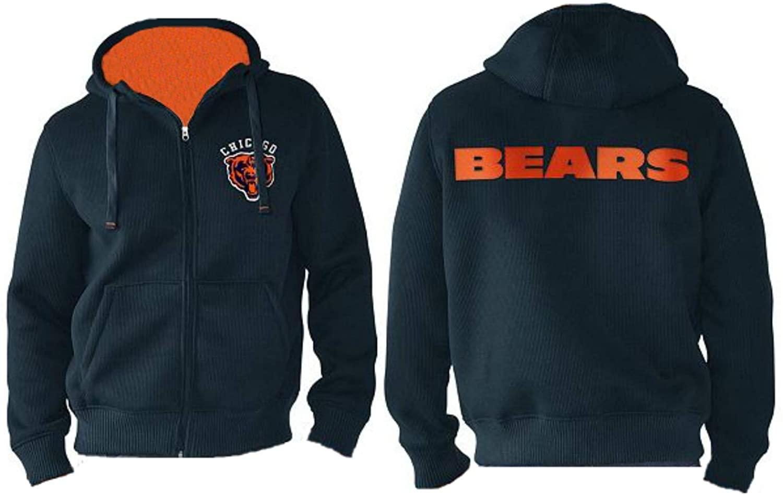 G-III Apparel Group Ltd. Chicago Bears Men's Size Medium Full Zip Hooded Sherpa Lined Jacket/Sweatshirt - Navy Blue
