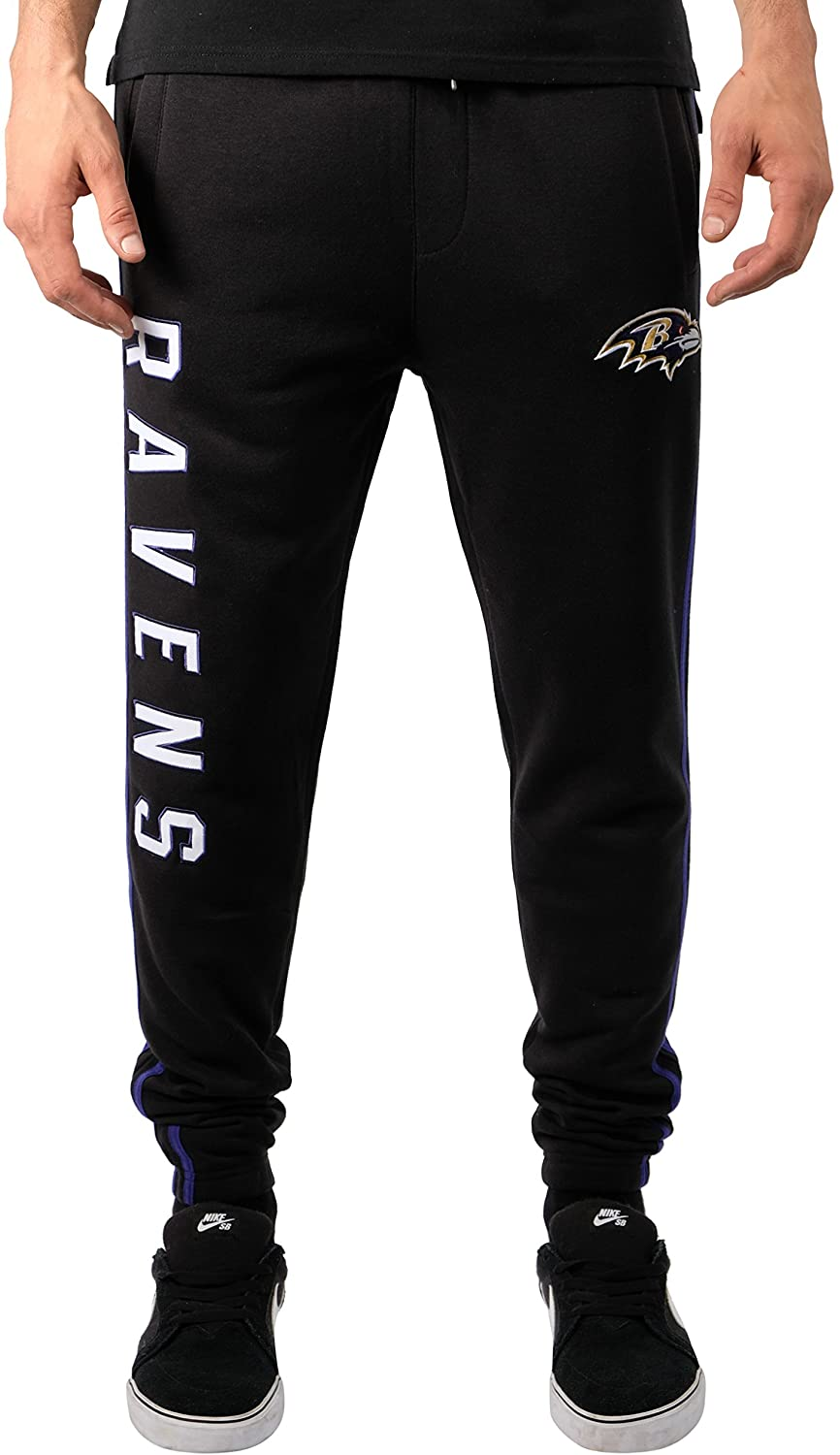 Ultra Game NFL Baltimore Ravens Mens Jogger Pants Active Basic Fleece Sweatpants, Team Color Stripe, Small