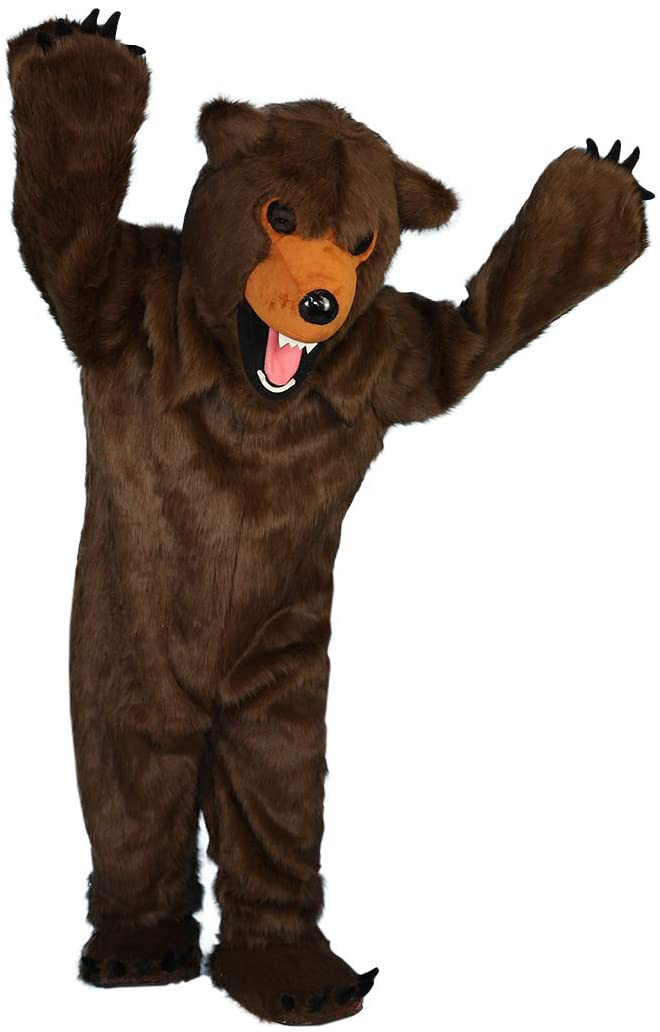 Longhair Brown Bear Cartoon Costume Mascot Plush with Mask for Adult Cosplay Party Halloween Dress Up