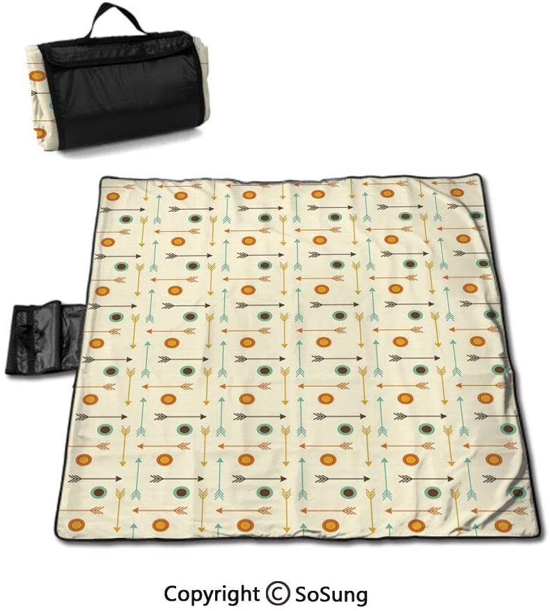 SoSung Winter Picnic Blanket with Tote,Seasonal Computer Generated Image Mountains Snowy Road Curved Road Transportation Foldable & Waterproof Camping Mat for Outdoor Beach Hiking Grass Travel,
