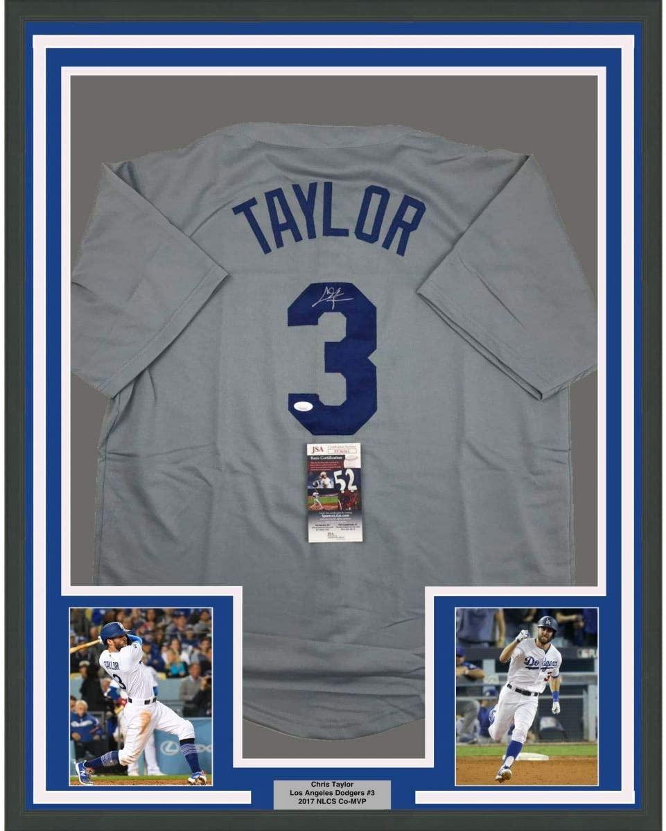 Framed Autographed/Signed Chris Taylor 33x42 Los Angeles LA Grey Baseball Jersey JSA COA