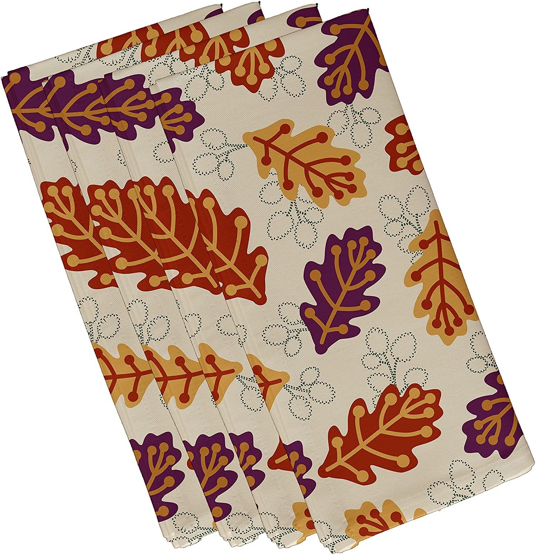 E by design Retro Leaves, Floral Print Napkin (Set of 4), 19 x 19