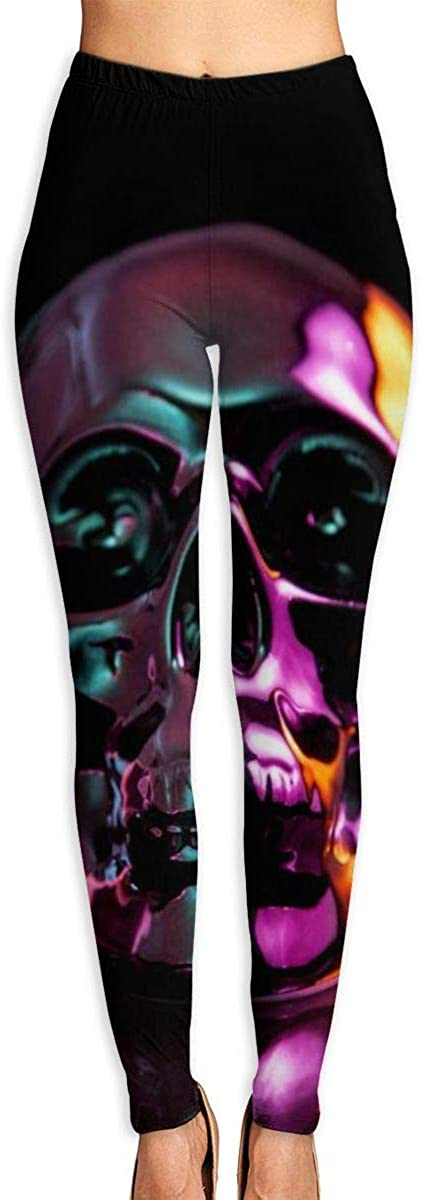 AUISS Womens Yoga Pants Leggings Oil Skull Running Workout Power Stretch Long Trousers Sports Gym