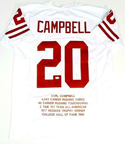 Earl Campbell Signed Jersey - White College Style STAT 4 w HT W Auth * - JSA Certified - Autographed NFL Jerseys