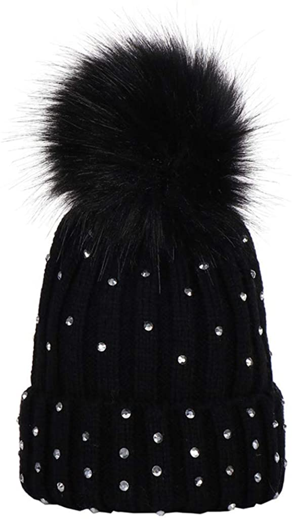 WLG Kids Hat Knitted Hemming Hat Ribbed Rhinestone Embellishment Fluffy Pompom Ball Cuffed Crotchet Beanie Cap Solid Color Wi