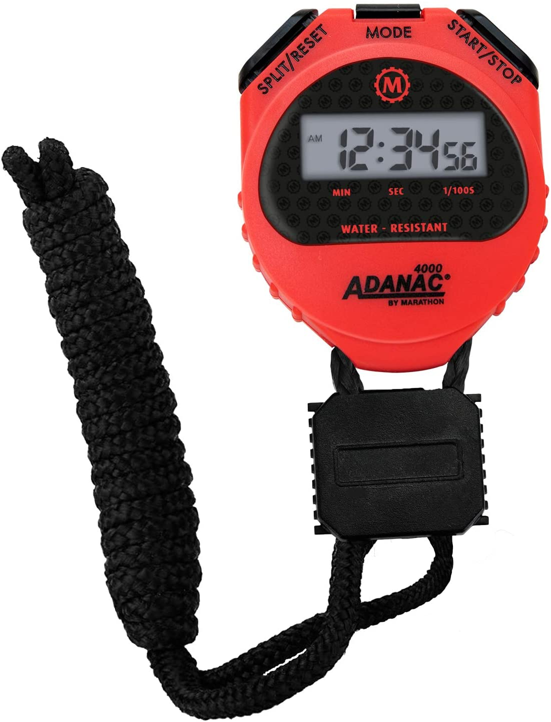 Marathon Adanac 4000 Digital Stopwatch Timer - Large Display with Date Time Alarm | Waterproof Dust and Shock Resistant | Lanyard for Fitness Sport Coaches - Red
