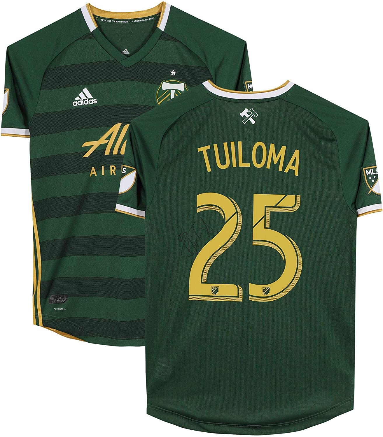 Bill Tuiloma Portland Timbers Autographed Match-Used #25 Green Jersey from the 2019 MLS Season - Fanatics Authentic Certified