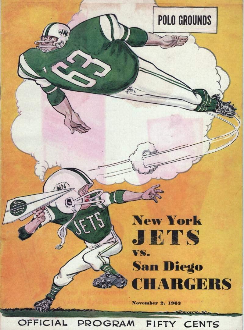 NEW YORK JETS VS. SAN DIEGO CHARGERS POLO GROUNDS 11/2/ 63 AFL PROGRAM NR MINT W/COA