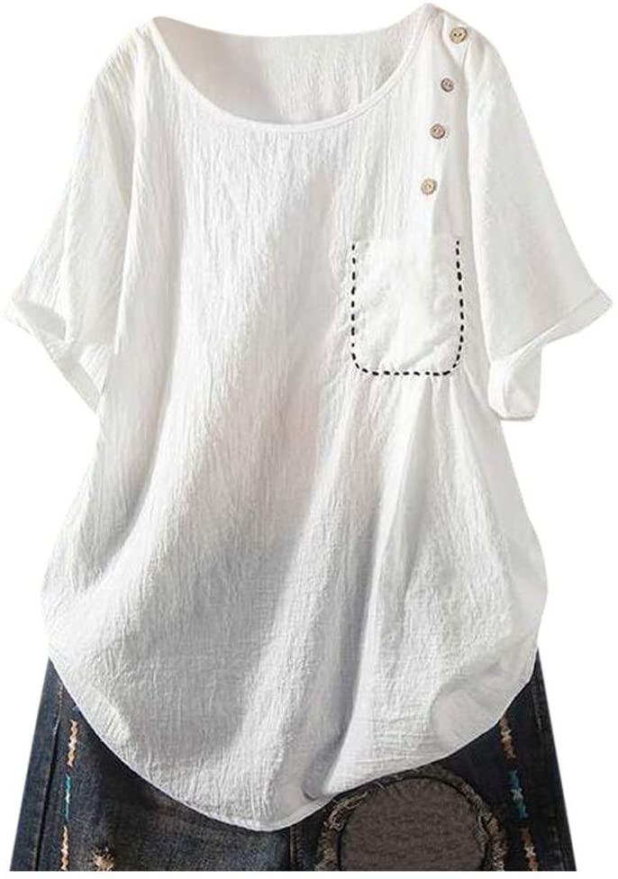 Women Solid Button Short Sleeve Pocket T-Shirt Blouse