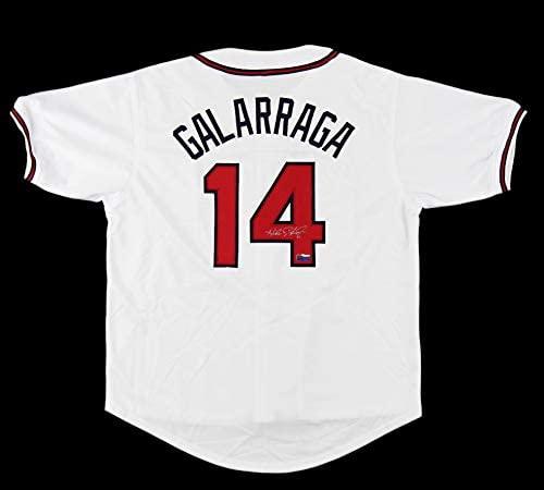 Andres Galarraga Autographed/Signed Atlanta Custom White Jersey