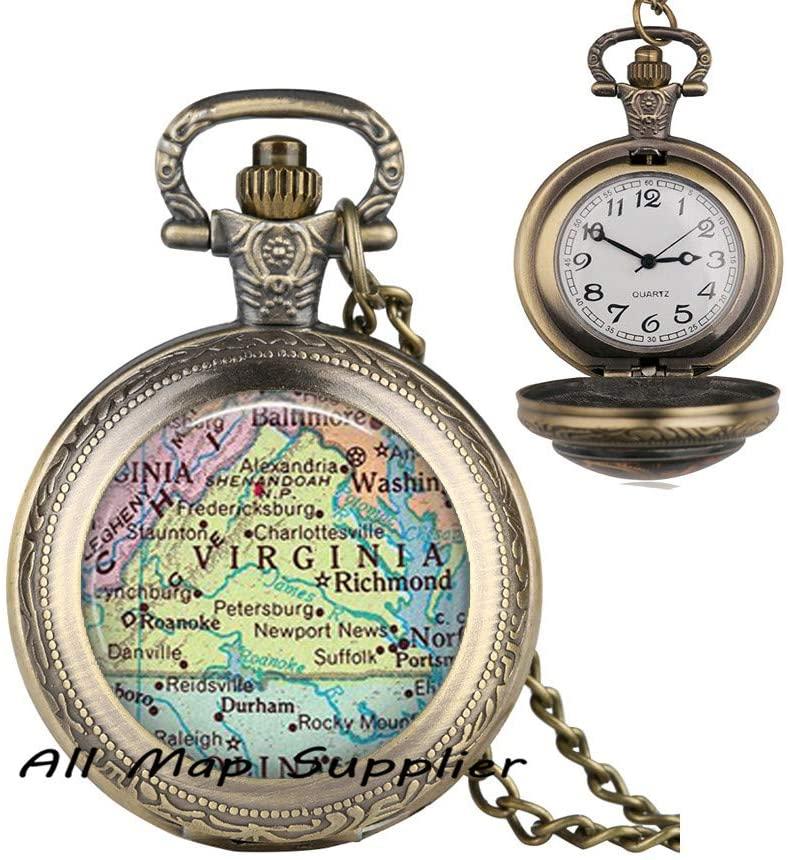 AllMapsupplier Fashion Pocket Watch Necklace Virginia map Pendant,Virginia map Pocket Watch Necklace,Virginia Pendant,Virginia Pocket Watch Necklace,Virginia State map Pendant,A0033