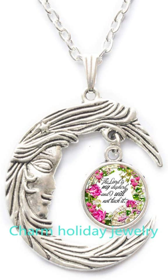 The Lord is My Christian Bible Verse Necklaces,Psalm 23 The Lord is My Shepherd,Christian Jewelry,Bible Quote,Psalms,Faith Pendant-#350