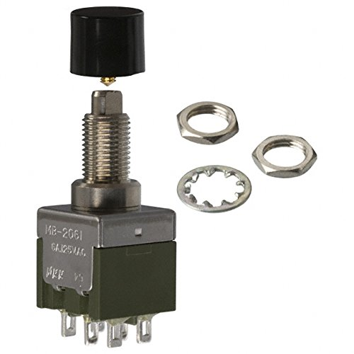 NKK SWITCHES MB2061SS1W01-CA Switch, PB, Non-Illum, DPDT, 6A, 125V