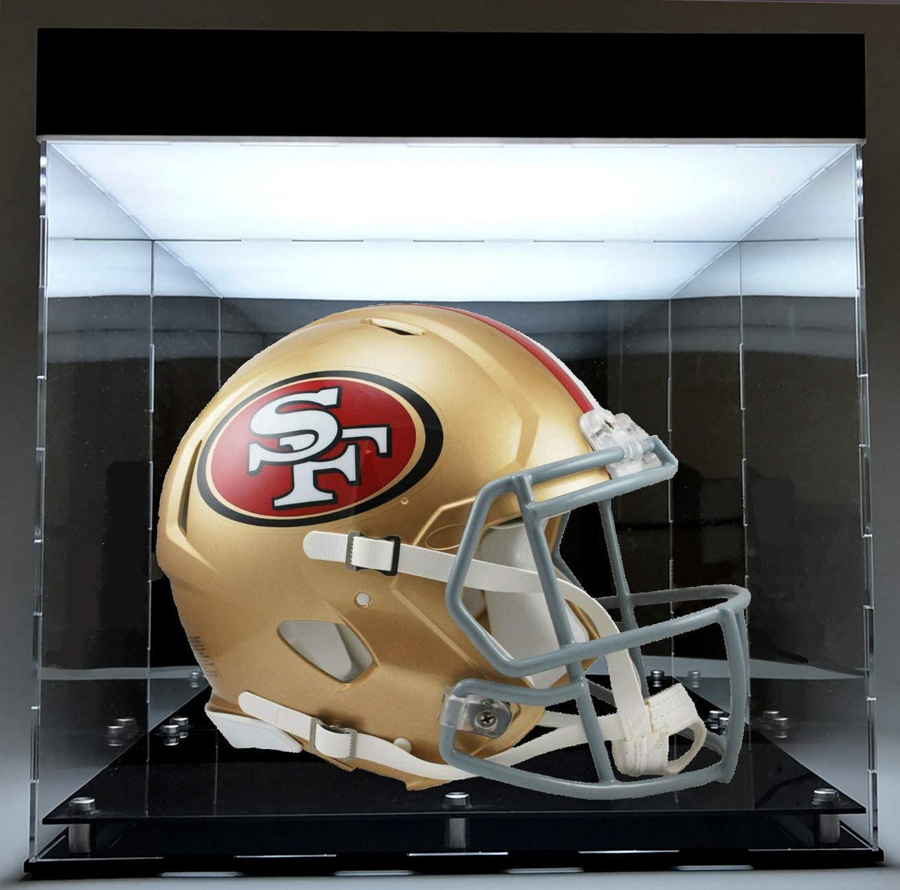 BillyJoe- LED Powered Football Helmet Display Case Full Size Unique Collectible Basketball Shoes Showcase UV Protection Clear Vision Acrylic Storage Box