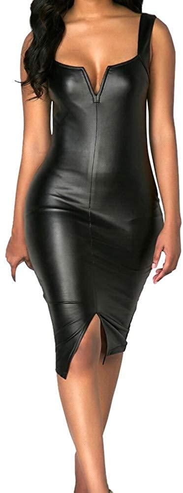 Womens Leather Dresses Fashion Sleeveless Heart Neck Slit Front Party Bodycon Dress Zulmuliu