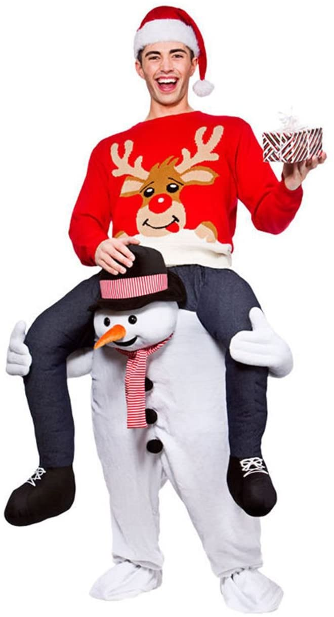 GUAITAI Christmas Costume Snowman Ride On Mascot Adults Party Fancy Dress Carry Costume