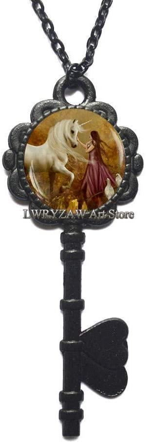 Unicorn Pendant, Unicorn Key Necklace, Unicorn Jewelry, Fantasy Style Art Gift, Unicorn Garden Key Necklace, Unicorn Forest Pendant,M126