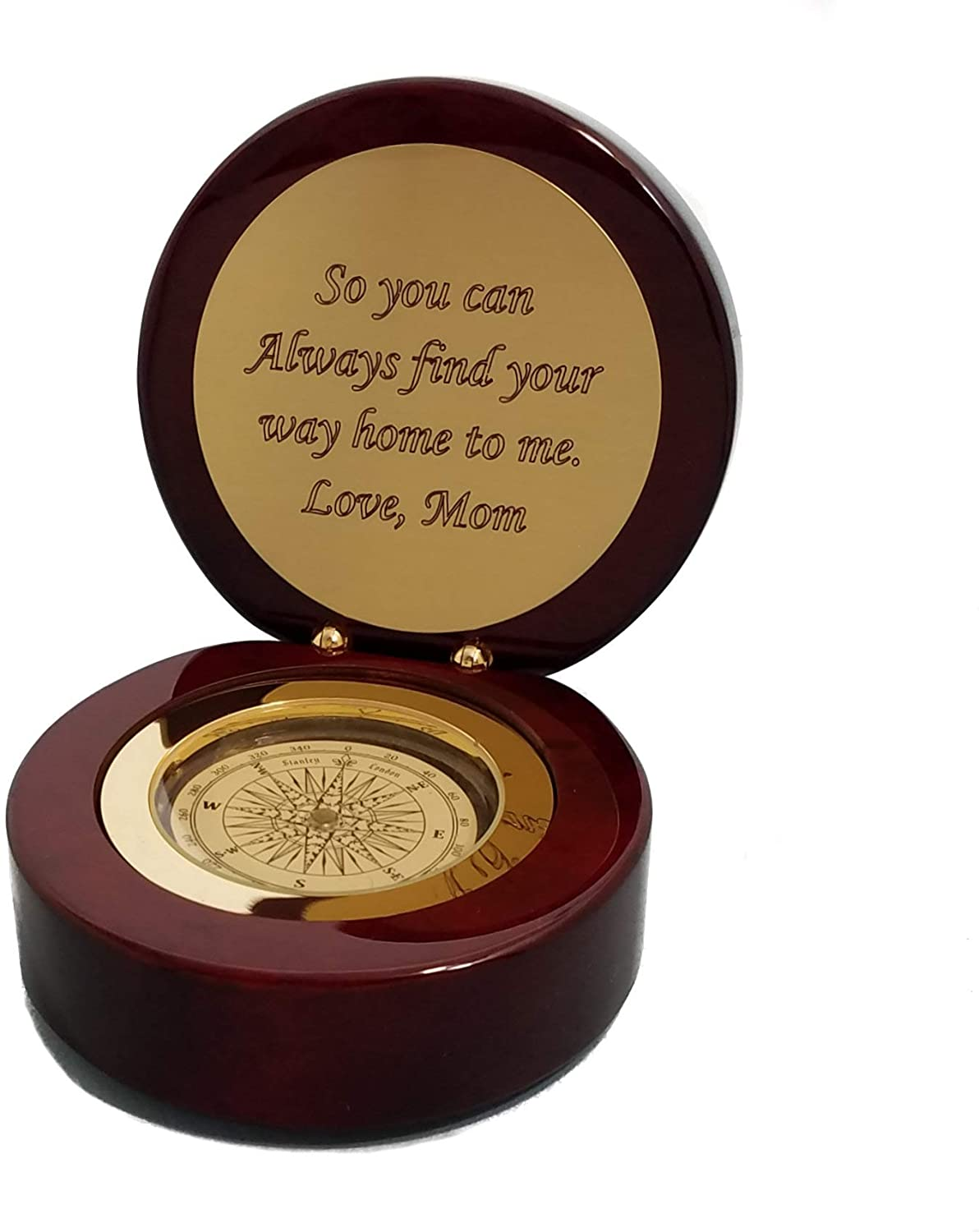 Stanley London Engravable Round Executive Desk Compass in Piano Finish Case - for Graduation, Retirement, Birthday, Christmas, Anniversary, Men, Women, Him, Her, Husband, Dad, Son, Boyfriend