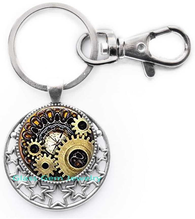 Steampunk Compass Photo Cogs Steampunk Jewelry Steampunk Keychain Steampunk Gears Mechanical Cogs,Q0160