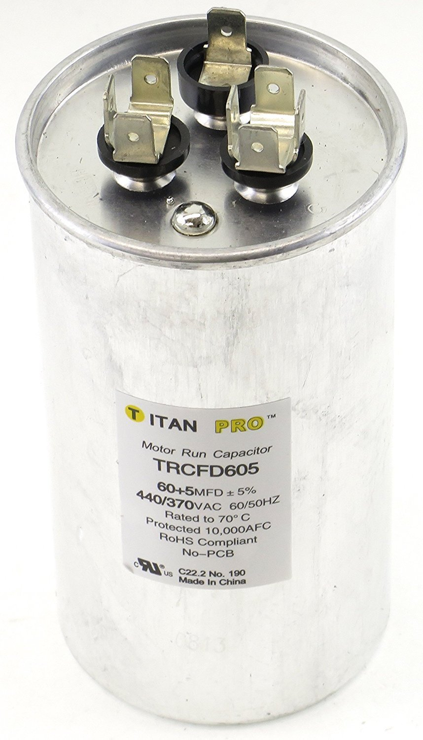 Titan TRCFD605 Dual Rated Motor Run Capacitor Round MFD 60/5 Volts 440/370