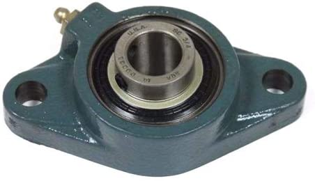 124198 Flange-Mount Ball Bearing Unit - Two-Bolt Flange, 0.5000 in Bore, Cast Iron Housing, Standard Duty, Set Screw Locking, Contact Seal