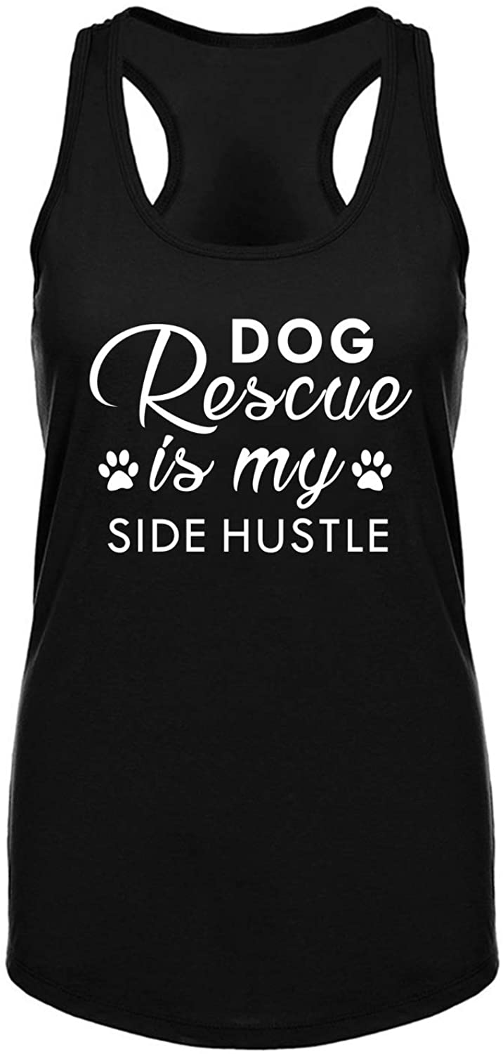 Funny Workout Tank Tops for Women Burnout Racerback Fitness Gym Sleeveless Shirts Dog Rescue is My Side Hustle