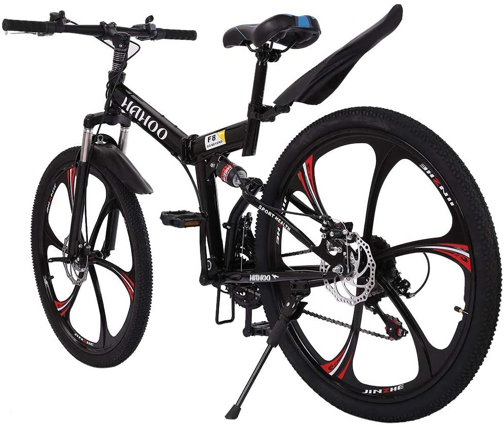 Shock Speed Mountain Bike Bicycle Mountain Bike With 21 Speed Dual Disc Brakes Full Suspension Non-slip 26 Inch 3 Spoke Wheels Folding 24/26 inch (Shipped from the US) (Black)