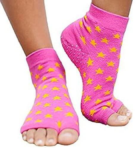 Toezies The Original 1/2 Toe Socks for Yoga/Pilates Pink Star Tabi