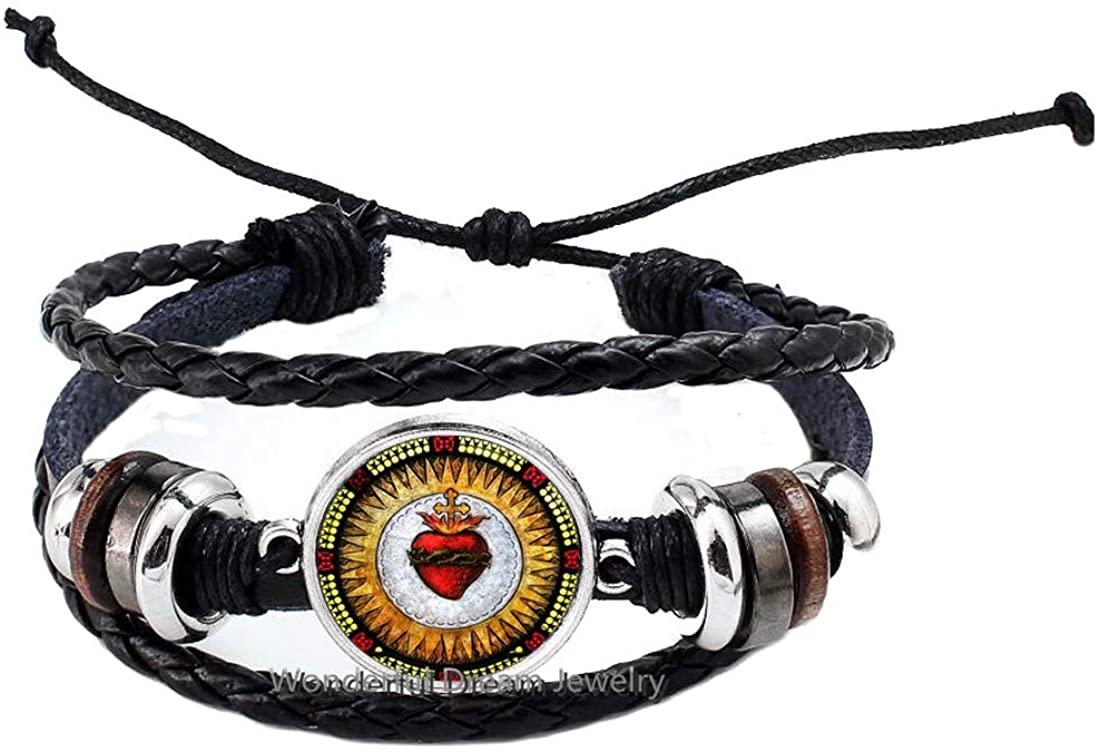 Sacred Heart Bracelet Art Photo Sacred Heart of Jesus Bangle Christian Jewelry Handmade Jewelry,PU163