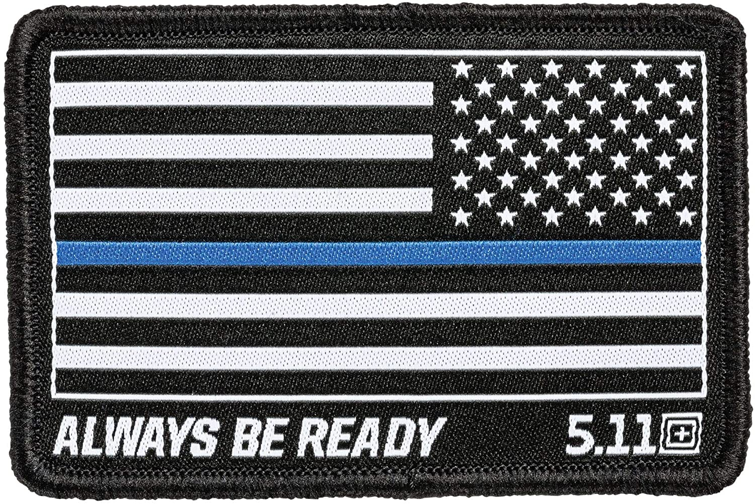 5.11 Tactical Thin Blue Line Reverse Woven Patch, Hook-Back Adhesion, Morale Fabric Badge, Black, Style 81299