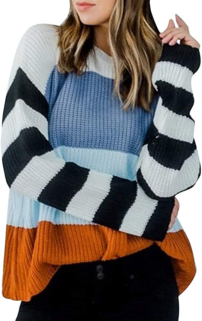 Women O-Neck Striped Color Block Sweater Knitwear Patchwork Pullover Tops
