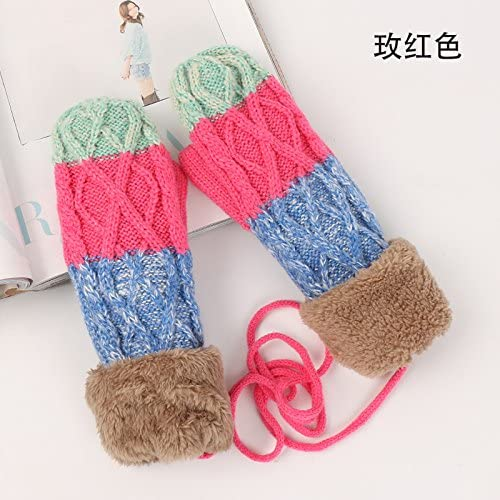 OLQMY-Winter and Autumn mustSweaters, Gloves, Women, Autumn, Winter, Korean Version, Cute, Double Color, Cashmere, Thickening, Warm Bag, Finger Mittens,D