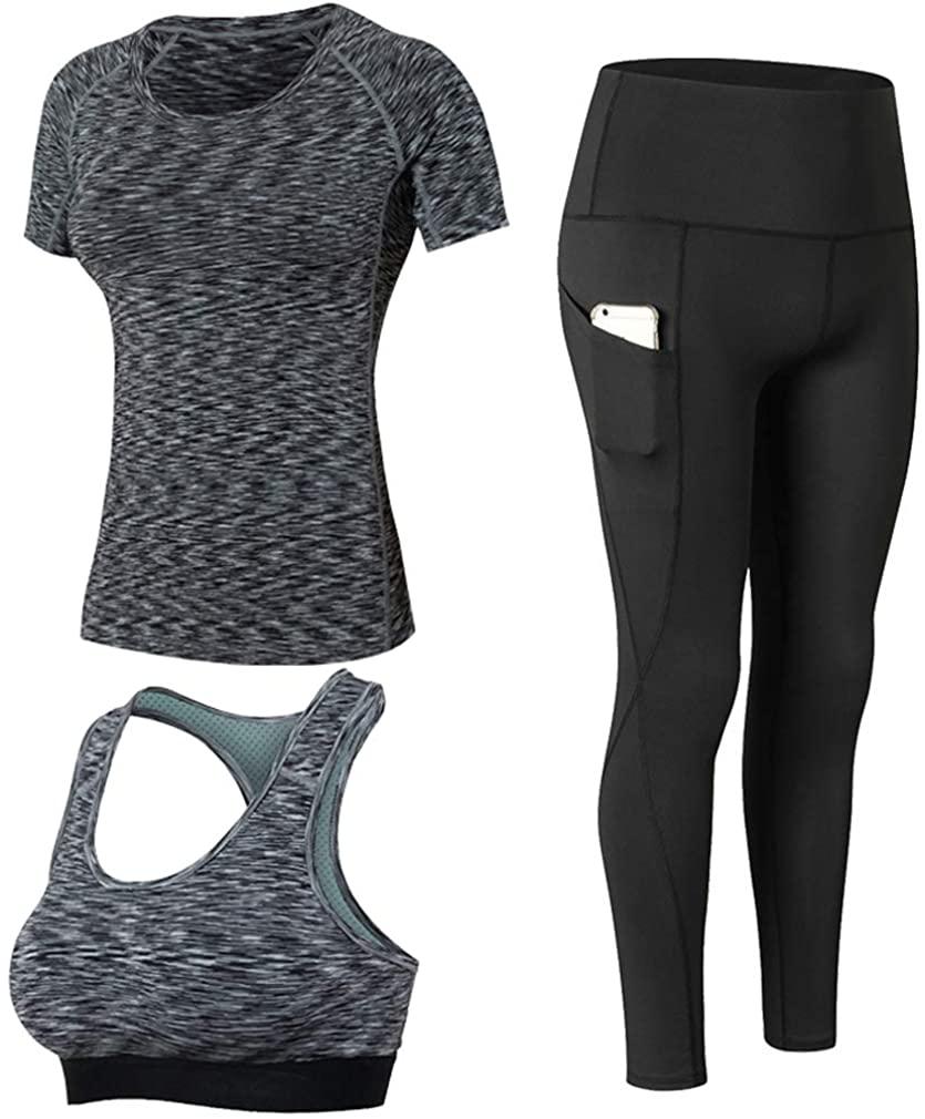 Yoga Shirts and Running Sport Bra and Leggings 3 Pack Set for Women