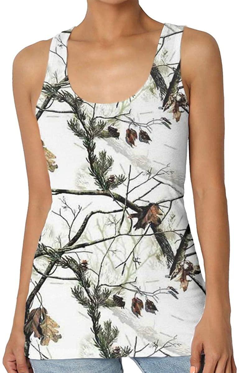 White Realtree Camo Women's Tank Top T-Shirt Retro Sleeveless Vest