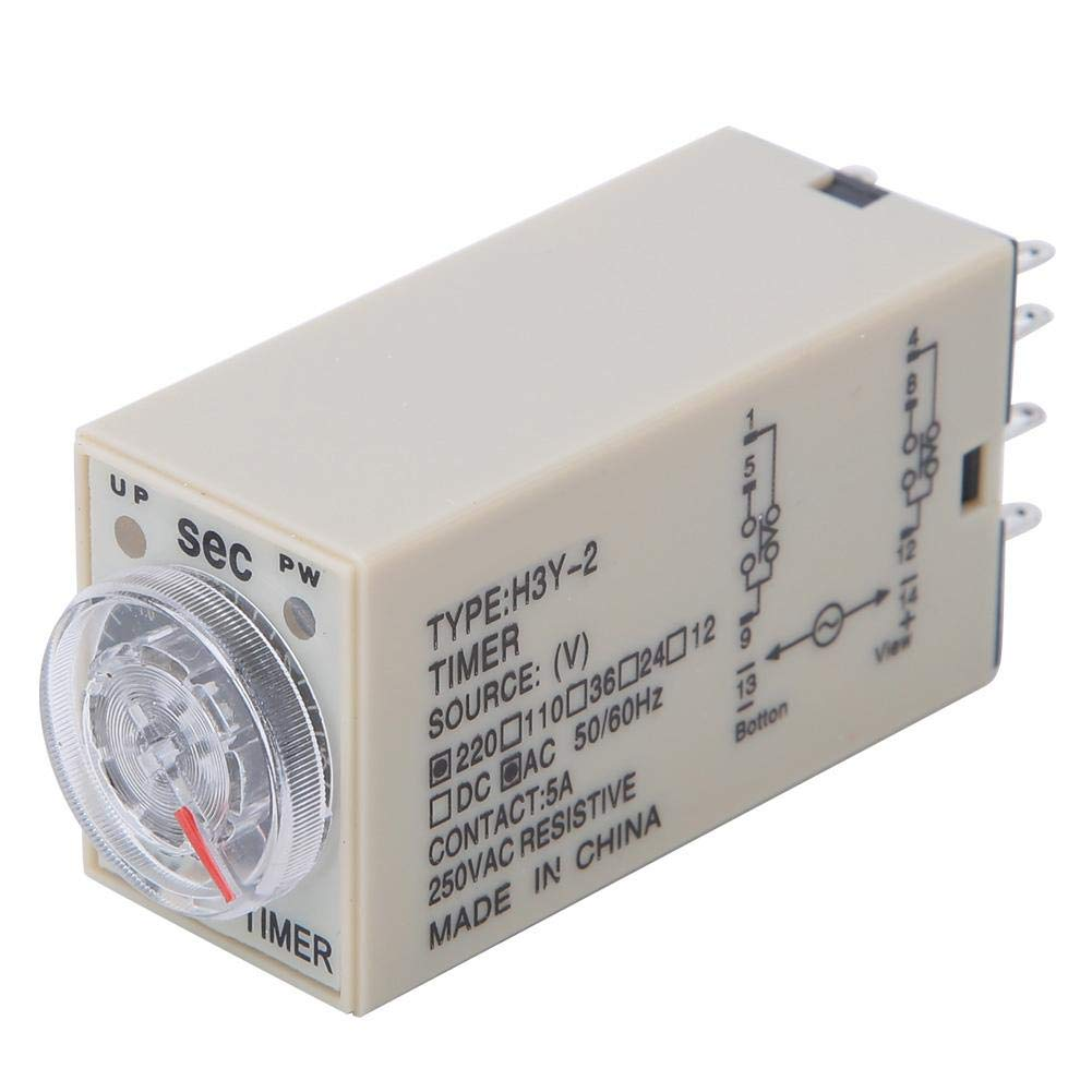 Time Relay, Time Relay 8Pins H3Y-2 Adjustable Transparent Dial Home Appliances Electrical Supplies 0-3s for Electrical Replaceable Parts(12VDC)