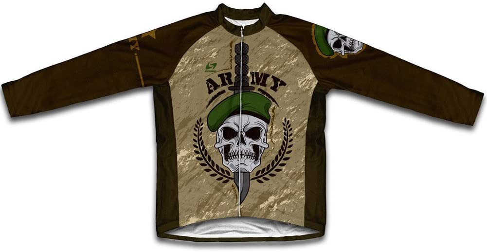 Army Skull Long Sleeve Cycling Jersey for Men