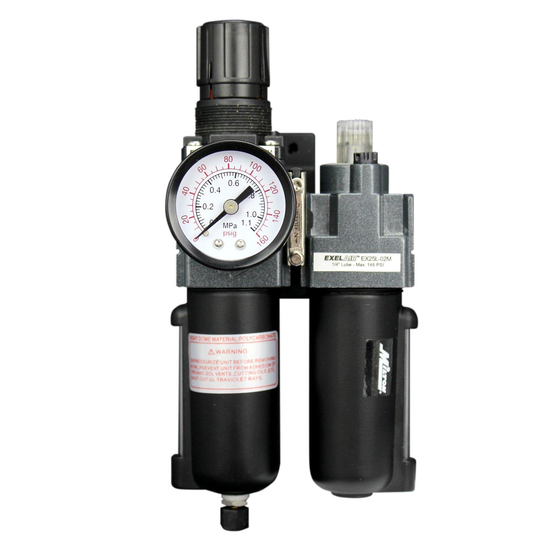 EXELAIR by Milton FRL (Mini/Piggyback) Air Filter & Regulator w/Lubricator - 1/4