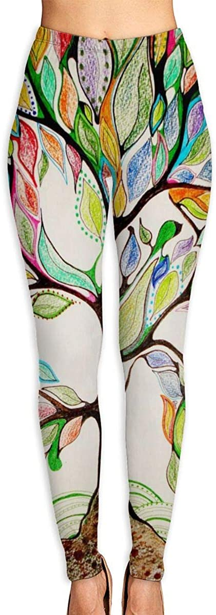 AUISS Girl Yoga Pants Leggings Colorful Tree Running Workout Over The Heel Long Trousers Sports Gym