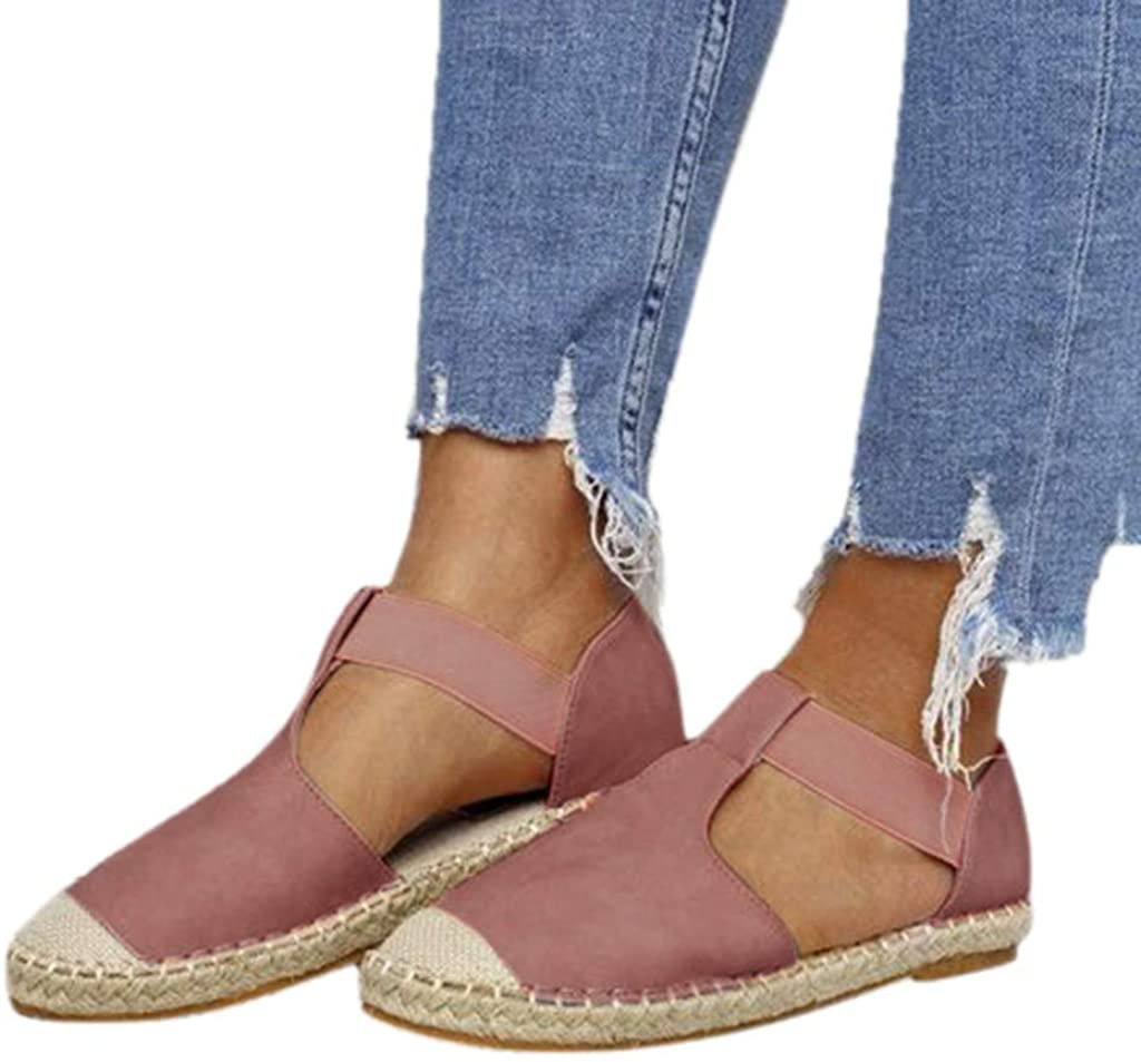 JHKUNO Elastic Flat Sandals for Women, Closed Toe Espadrilles Trim Rome Shoes Straps Platform Wedges Sandals Casual Loafer