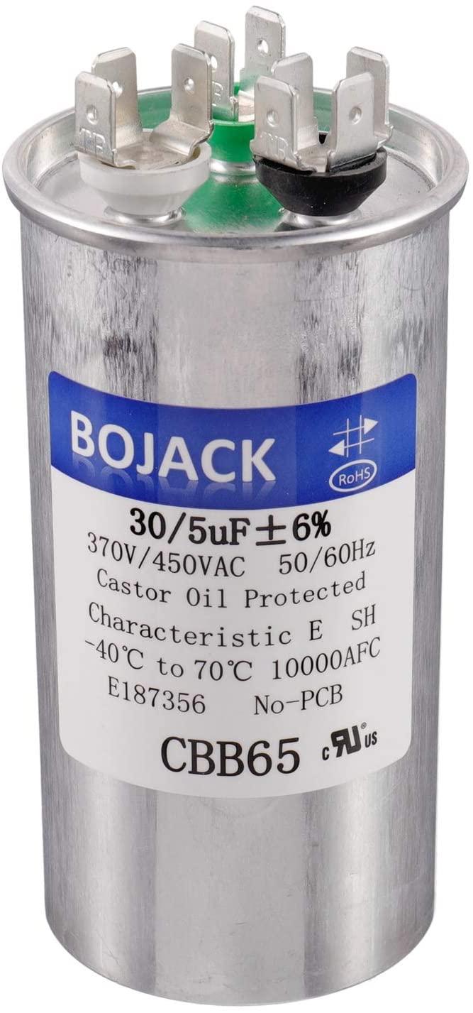 BOJACK 30+5uF 30/5MFD ±6% 370V/440V CBB65 Dual Run Circular Start Capacitor for AC Motor Run or Fan Start or Condenser Straight