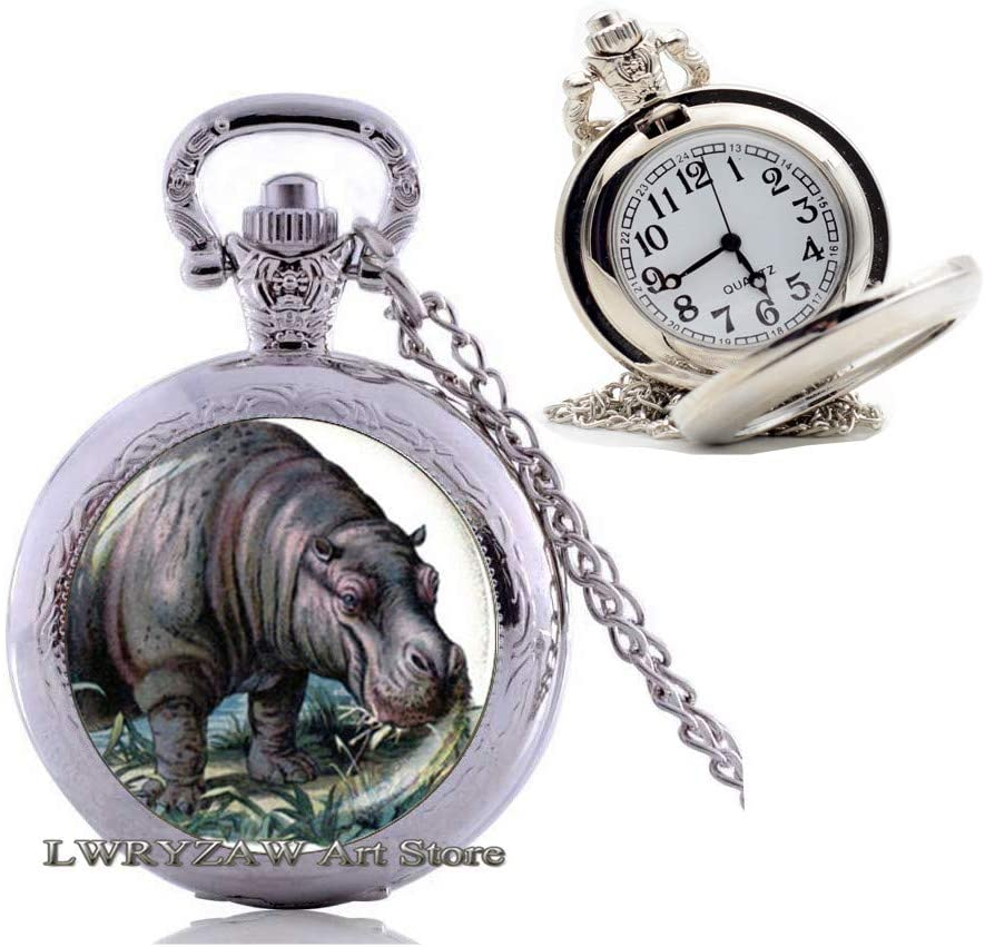 Hippopotamus Animal Pocket Watch Necklace,Hippopotamus Art Gift, Hippo Pendant,African Wildlife, Animal Pocket Watch Necklace, African Pendant Wild Animal,M49