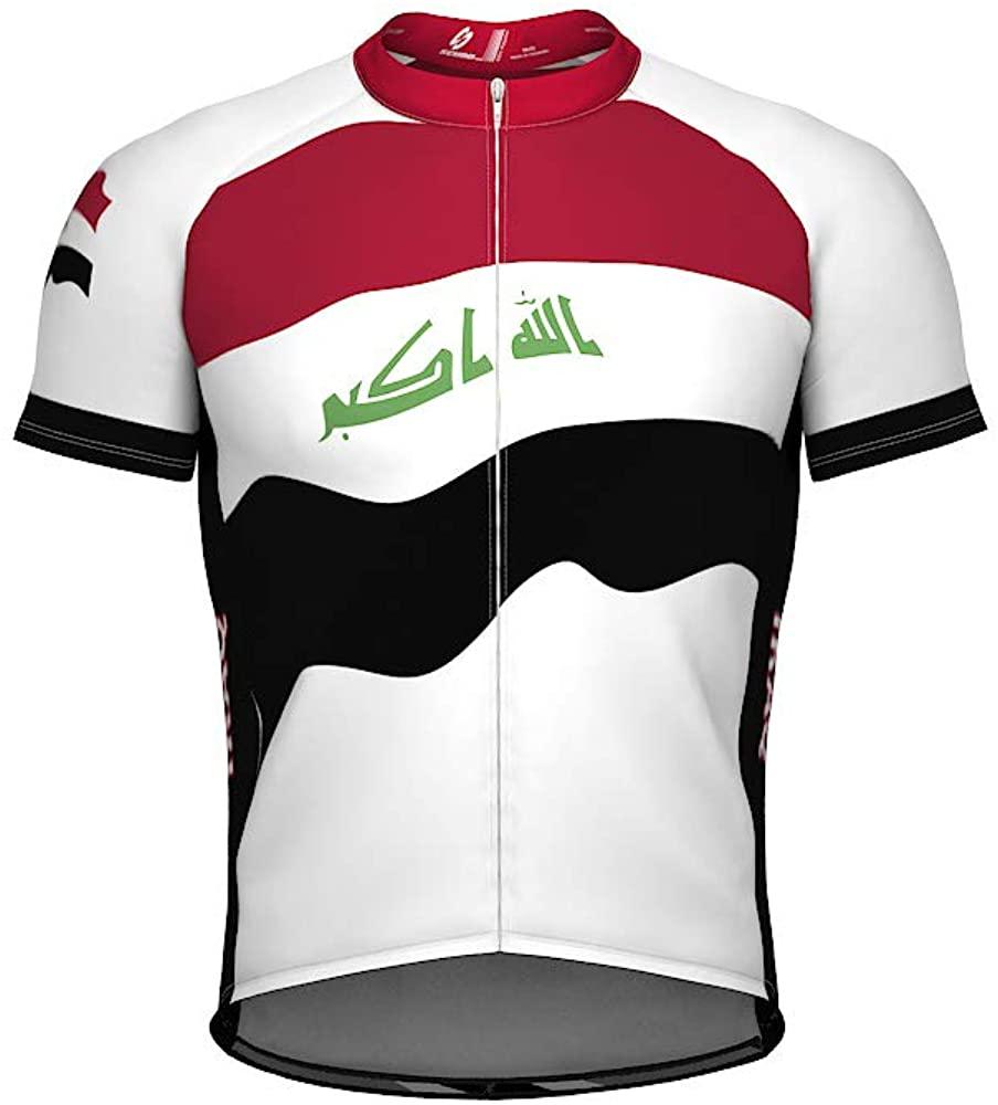 ScudoPro Iraq Emblem Full Zipper Bike Short Sleeve Cycling Jersey for Men