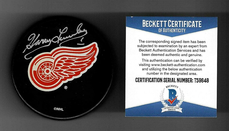 Autographed Harry Lumley Puck - Detroit Red Wings Souvenir Beckett COA - Beckett Authentication - Autographed NHL Pucks