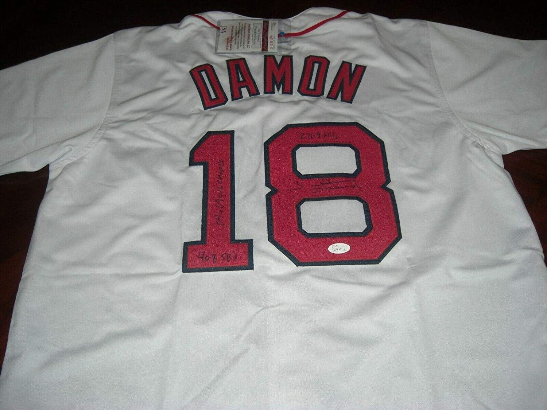 Signed Johnny Damon Jersey - Redsox 04 09 Ws Champs!,2769 Hits coa - JSA Certified - Autographed MLB Jerseys