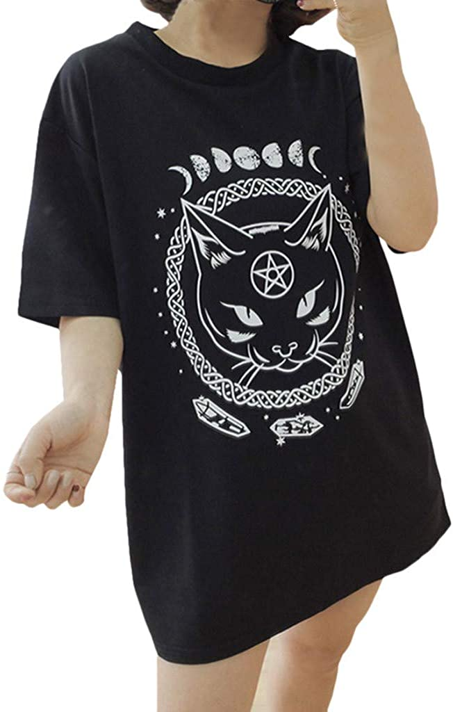 Pocciol Cute Punk T Shirts,Womens Funny Gothic Moon Cat Printed Blouse Tops Girls Basic Tees