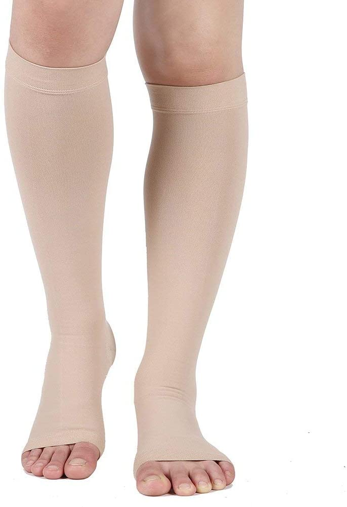 Compression Socks, Open Toe 20-30 mmHg Graduated Compression Stockings for Men Women, Knee High Compression Sleeves for DVT, Maternity, Pregnancy, Varicose Veins, Relief Shin Splints, Edema, Beige L