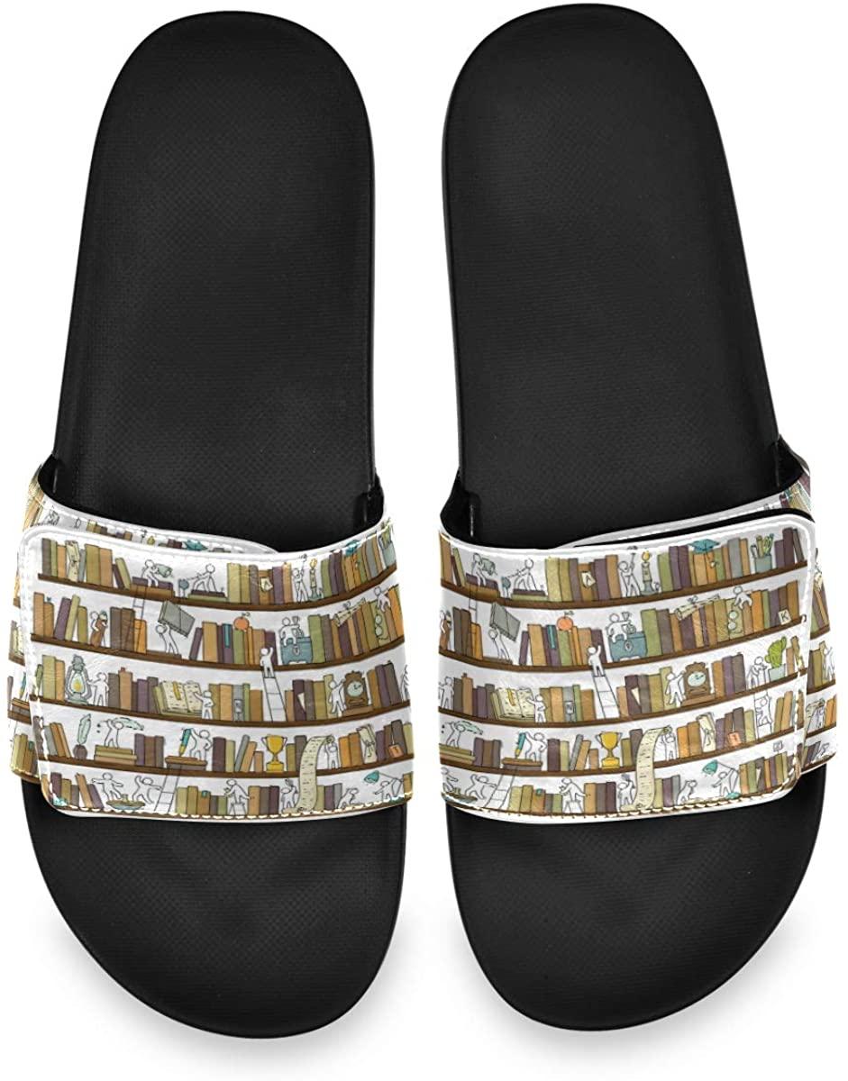 Funny Little People in Library Bookshelf Mens Summer Sandals Slide House Adjustable Slippers Wide Boys